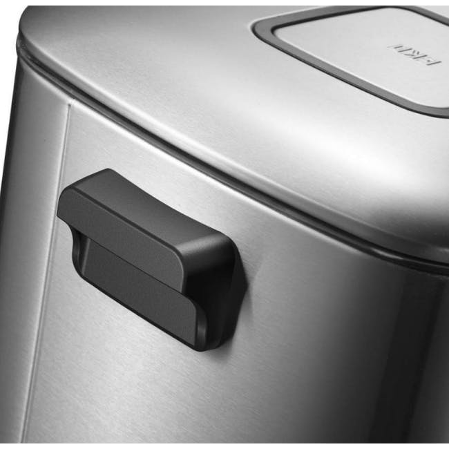 EKO Regent Stainless Steel Square Step Bin With Soft Closing Lid 9L - Brushed - 1