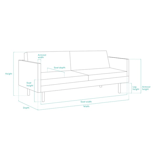 Noel 2 Seater Sofa Bed with Noel Sofa Bed - Teal - 14