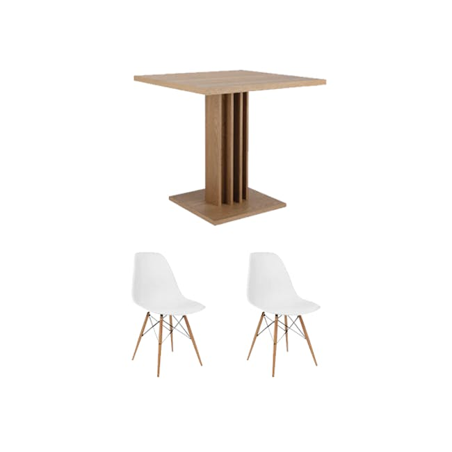 Colton Square Dining Table 0.8m with 2 DSW Chair Replica in Natural, White - 0