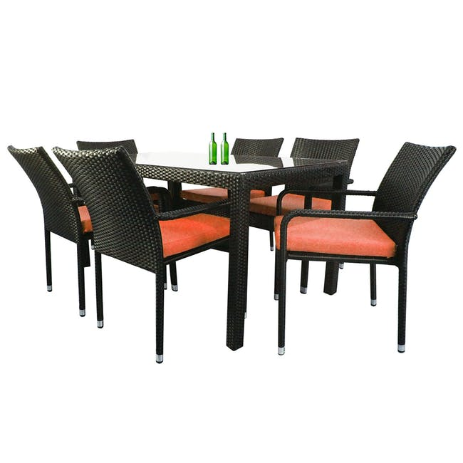 Boulevard Outdoor Dining Set with 6 Chair - Orange Cushion - 0