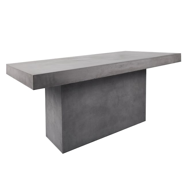 Ryland Concrete Dining Table 1.6m with 4 Edson Dining Armchairs in Titanium and Mocha Faux Leather - 4