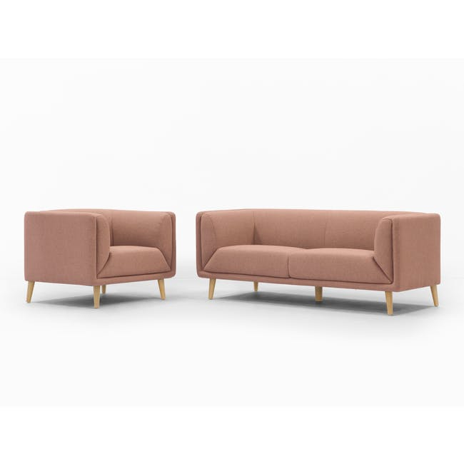 Audrey 3 Seater Sofa with Audrey Armchair - Blush - 7