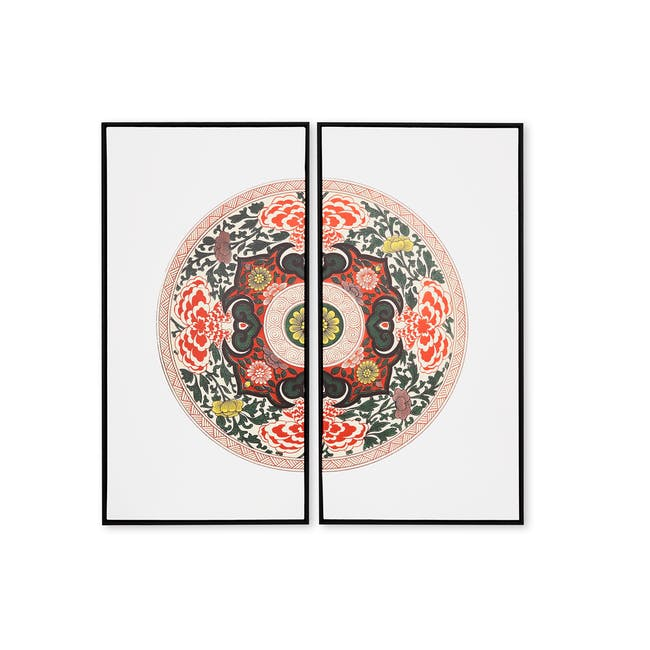 Modern Chinese Medallion Art Print on Stretched Canvas with Black Frame 50cm x 100cm (Set of 2) - 0