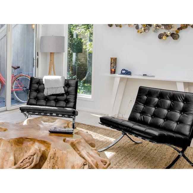Barcelona Chair Replica - Black (Genuine Cowhide) - 1