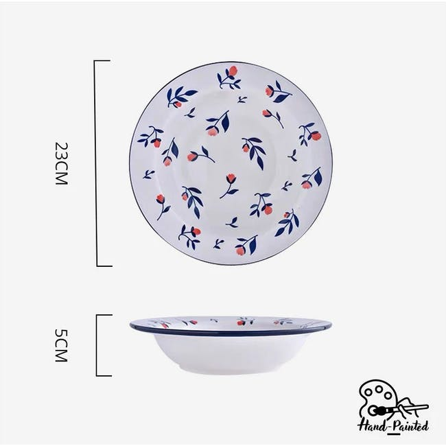 Table Matters Rose Sweet Hand Painted Pasta Plate - 2