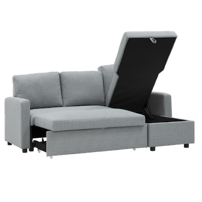 (As-is) Mia L Shape Sofa Bed with Storage - Slate - 2 - Image 2