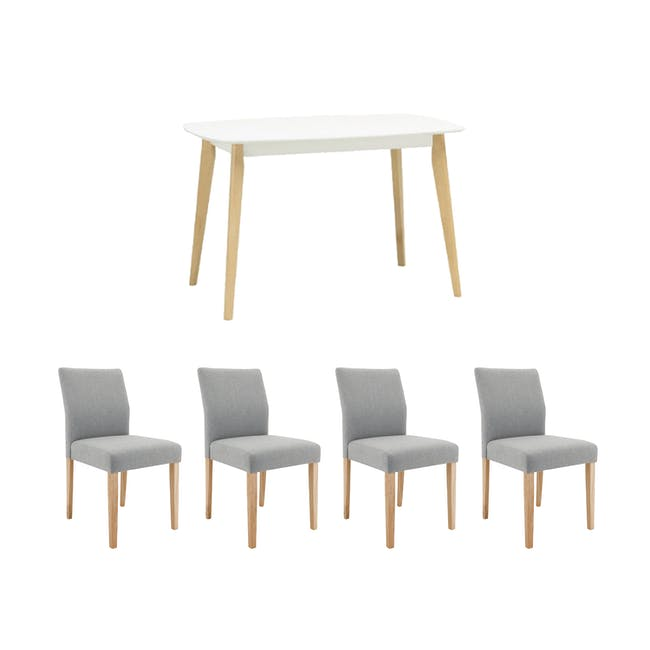 Harold Dining Table 1.2m in White with 4 Ladee Dining Chairs in Pale Silver - 0