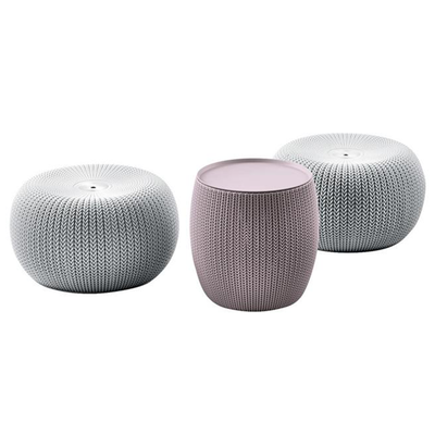 Cozy Urban Knit Poufs & Table Set - Grey Poufs + Violet Table - Image 1