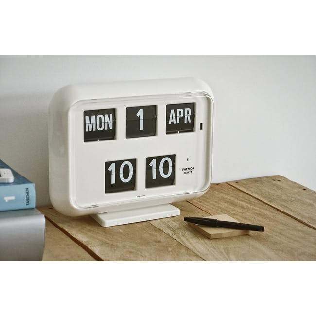 TWEMCO Big Calendar Flip Wall Clock - White - 1