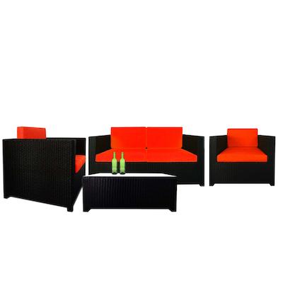 Black Fiesta Sofa Set II with Orange Cushions - Image 1
