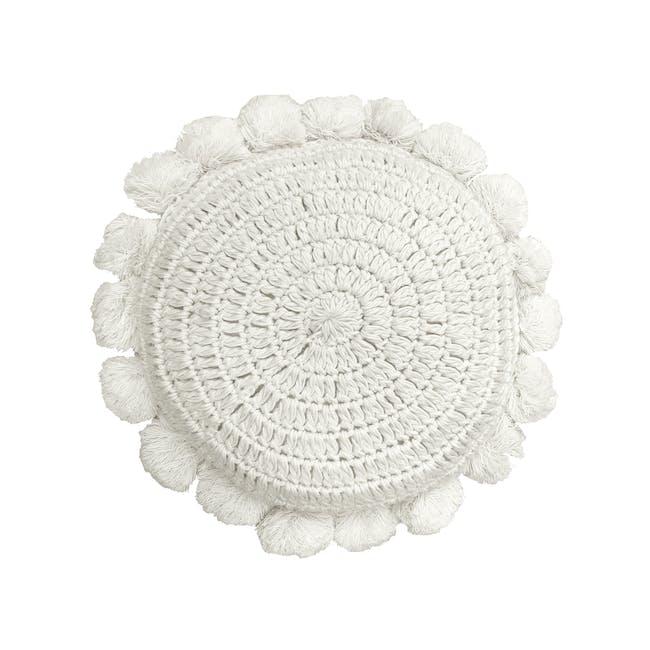 Tessa Round Knitted Cushion - Cream - 0