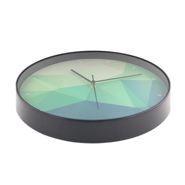 Teal Facet Wall Clock - 2