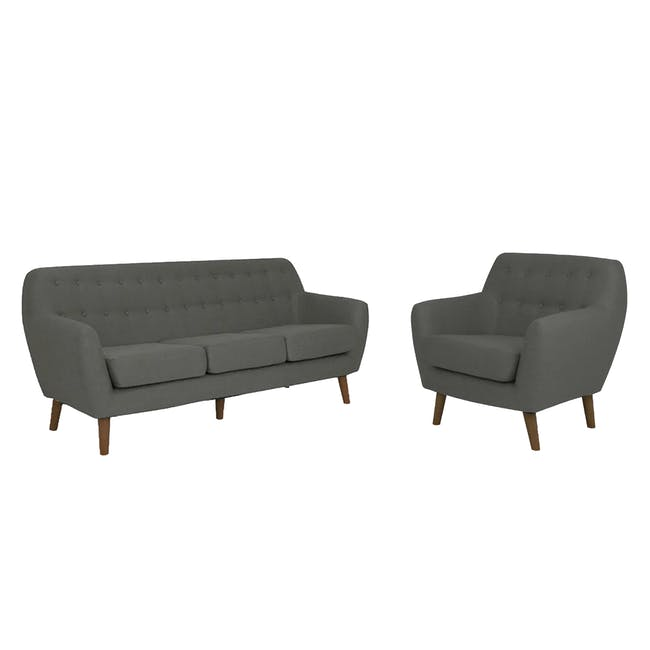 Emma 3 Seater Sofa with Emma Armchair - Raven - 0