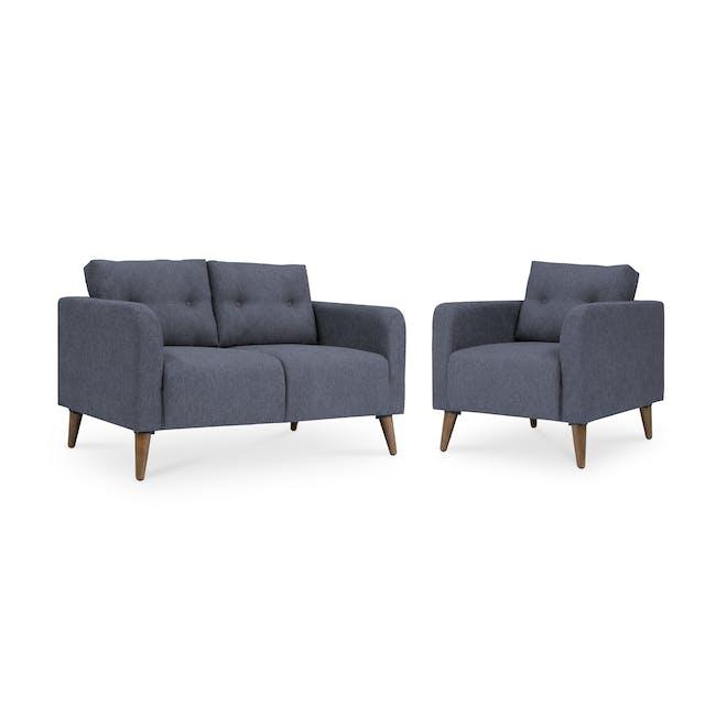 Bennett 2 Seater Sofa with Bennett Armchair - Midnight - 0