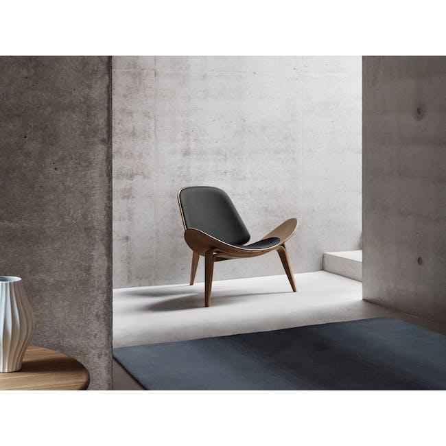 Shell Chair Replica - Walnut, Black (Genuine Leather) - 1