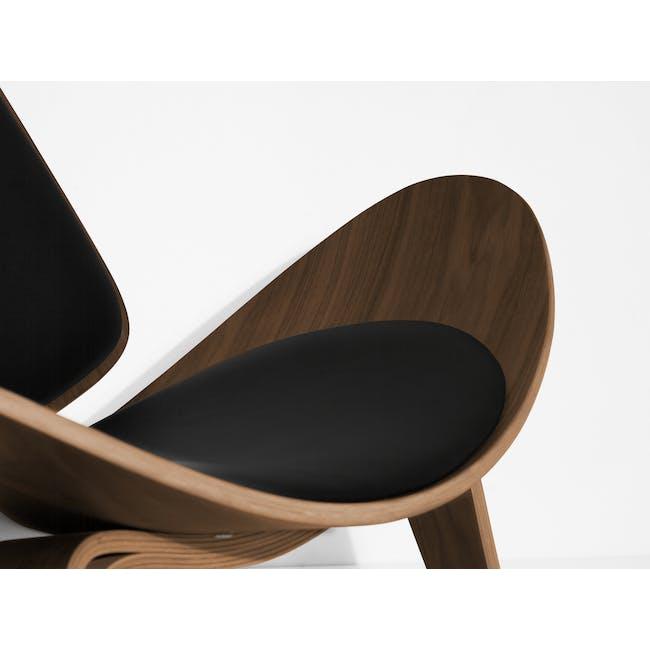 Shell Chair Replica - Walnut, Black (Genuine Leather) - 2