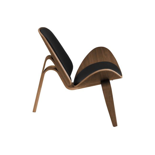 Shell Chair Replica - Walnut, Black (Genuine Leather) - 5
