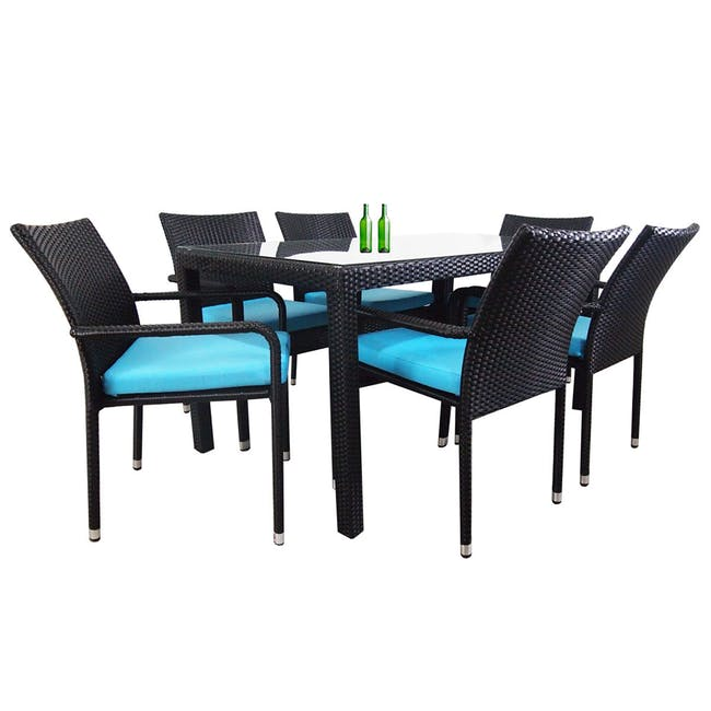 Boulevard Outdoor Dining Set with 6 Chair - Blue Cushion - 0