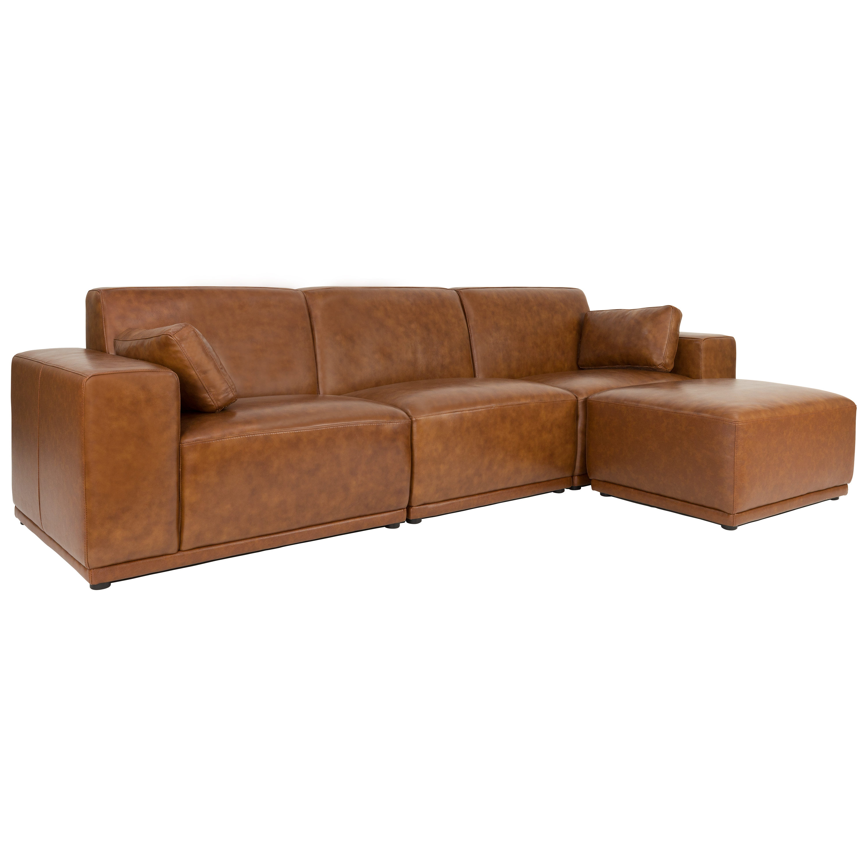 milan 3 seater sofa with ottoman cowhide image 2