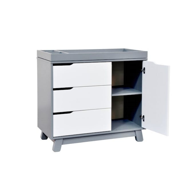 Babyletto Hudson 3-Drawer Dresser with Removable Changing Tray - Grey & White - 3