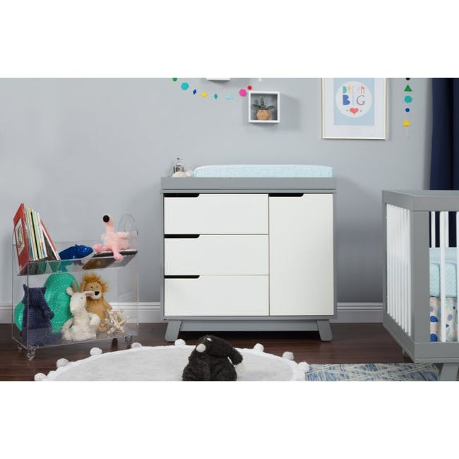 Babyletto Hudson 3-Drawer Dresser with Removable Changing Tray - Grey & White - 1