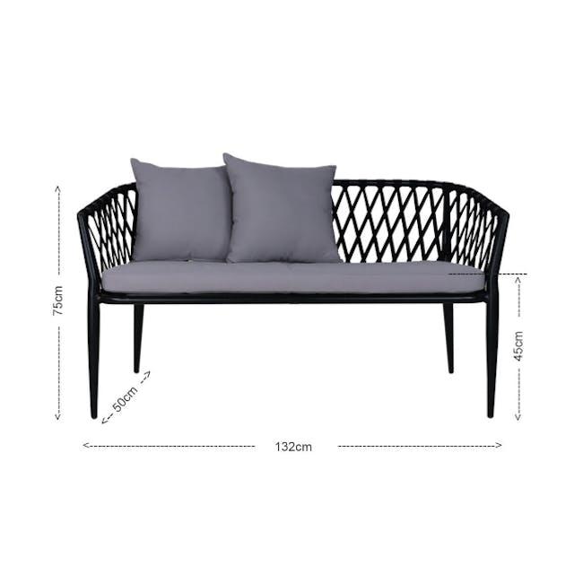 Orgo Loveseat & 2 Armchair Set - Grey Cushion - 4