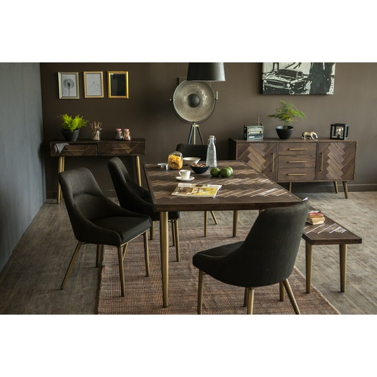 HipVan Bundles - Cadencia Dining Table 1.8m with Cadencia Bench 1.5m and 2 Fabian Dining Chair with Armrests