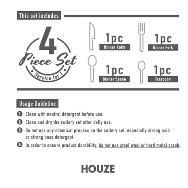 Portugese 4pc Stainless Steel Cutlery Set - Matt Gold - 4