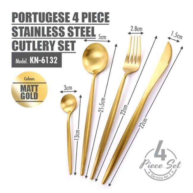 Portugese 4pc Stainless Steel Cutlery Set - Matt Gold - 2