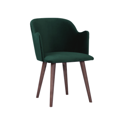 Anneli Dining Arm Chair - Walnut, Dark Green (Velvet) - Image 2