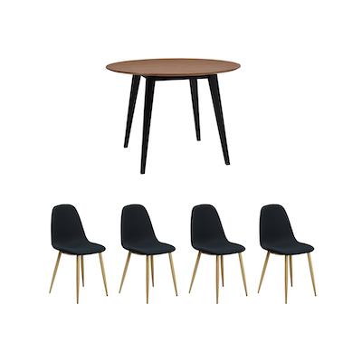 d37c635eb0 Ralph Round Dining Table 1m - Black, Cocoa with 4 Fynn Dining Chair -  Brushed