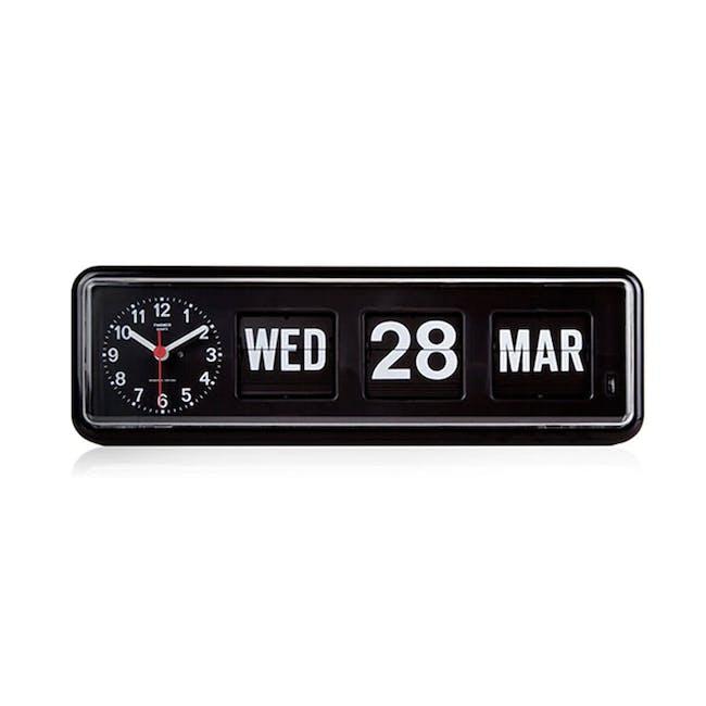 TWEMCO Calendar Flip Wall/Counter Clock - Black - 0
