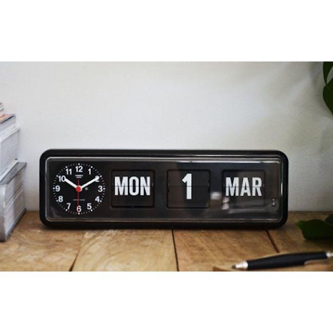 TWEMCO Calendar Flip Wall/Counter Clock - Black - 1