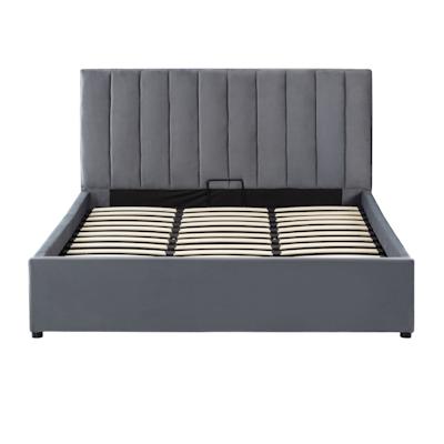 Audrey Queen Storage Bed - Grey (Velvet) - Image 1