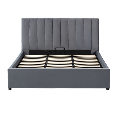 Audrey Queen Storage Bed - Grey (Velvet) - Image 1