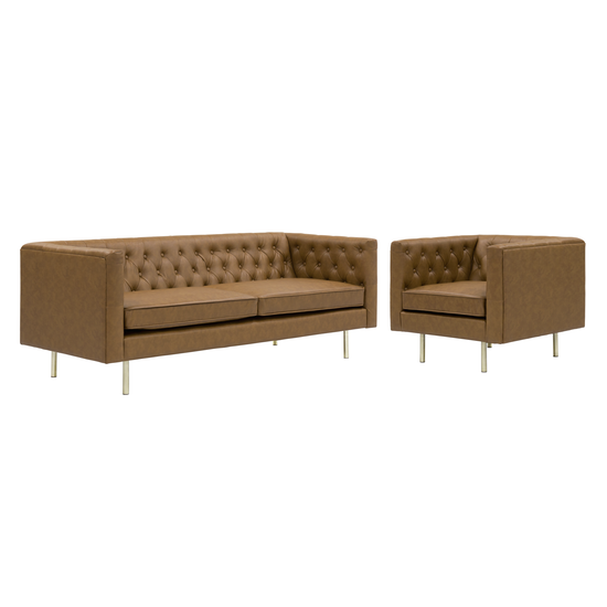 HipVan Bundles - Cadencia 3 Seater Sofa with Cadencia Armchair - Tan (Faux Leather)