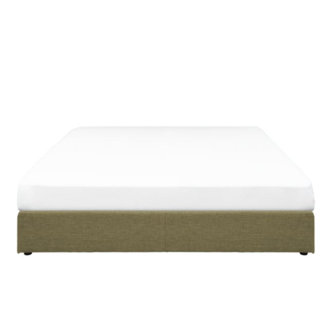 ESSENTIALS Queen Box Bed - Khaki (Fabric) - 0
