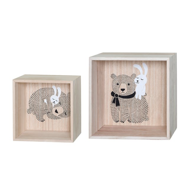 Willow Display Box - Bear and Rabbit (Set of 2) - 0