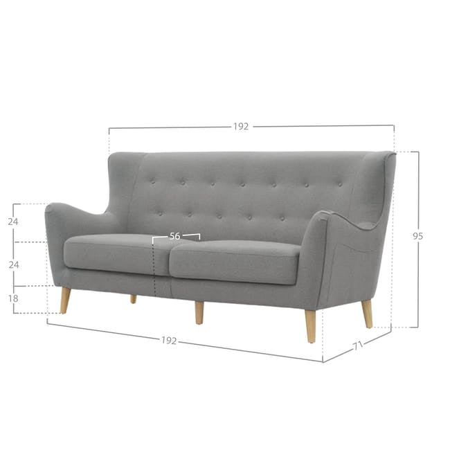 Jacob 3 Seater Sofa - Slate - 2