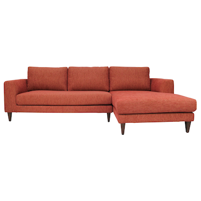 Leila L Shape Sofa - Rustic Red
