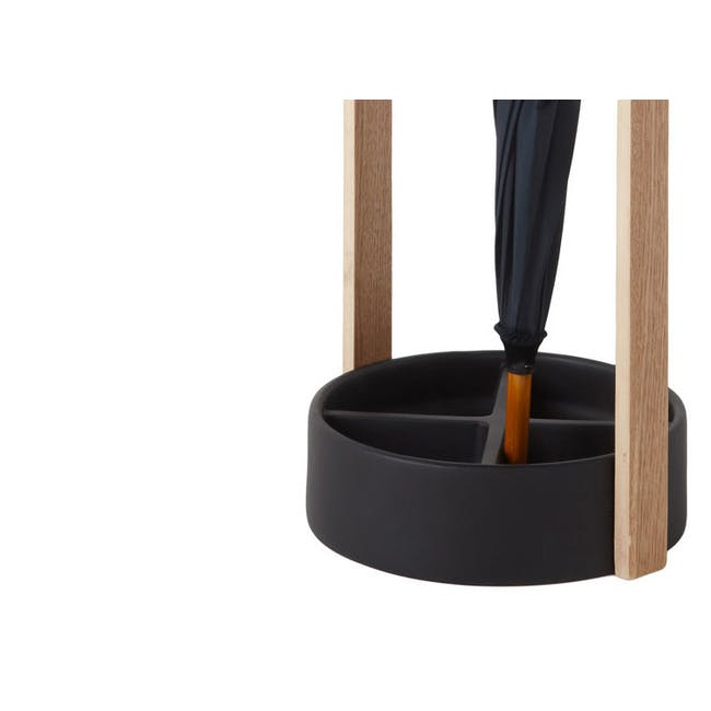 Hub Umbrella Stand - Black, Walnut - 4