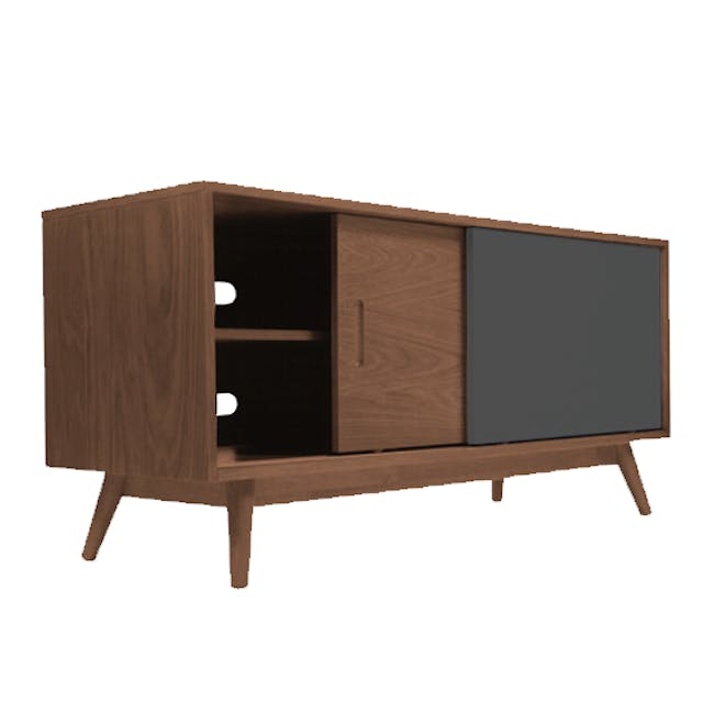 Emelie TV Console 1.2m in Walnut, Anthracite with Avery Coffee Table in Anthracite - 3