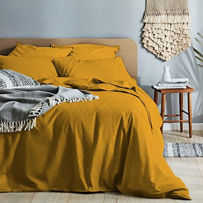 Canningvale Vintage Quilt Cover Set - Spicy Mustard (2 Sizes) - 0