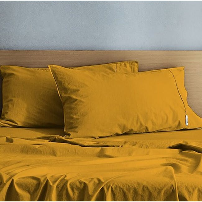 Canningvale Vintage Quilt Cover Set - Spicy Mustard (2 Sizes) - 1