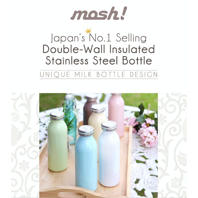 MOSH! Double-walled Stainless Steel Bottle 450ml -  Lite Pink - 4