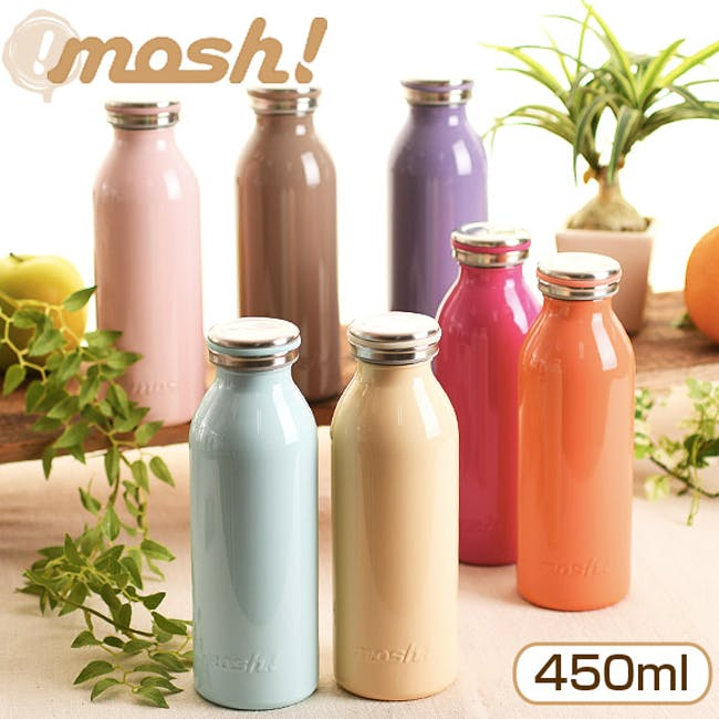 MOSH! Double-walled Stainless Steel Bottle 450ml -  Lite Pink - 1