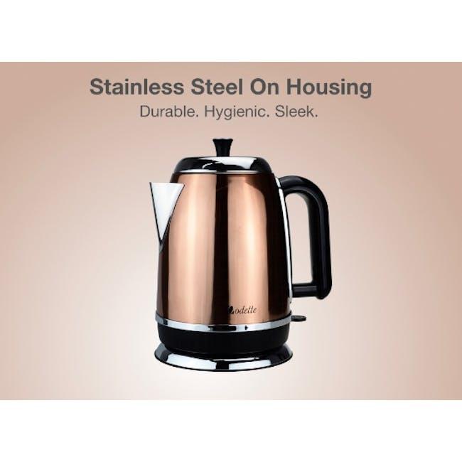 Odette Streamline 1.7L Stainless Steel Electric Kettle - Copper - 3