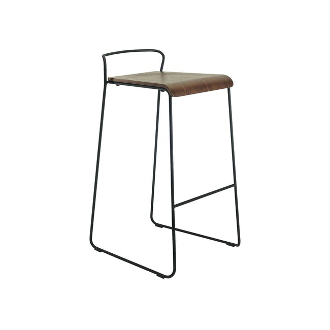 Colby Bar Chair - Walnut, Matt Black - 2