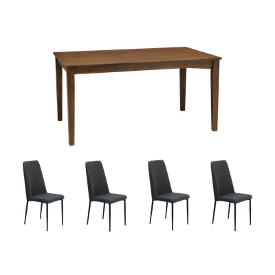 Paco Dining Table 1.5m with 4 Jake Dining Chairs - Cocoa - Image 1
