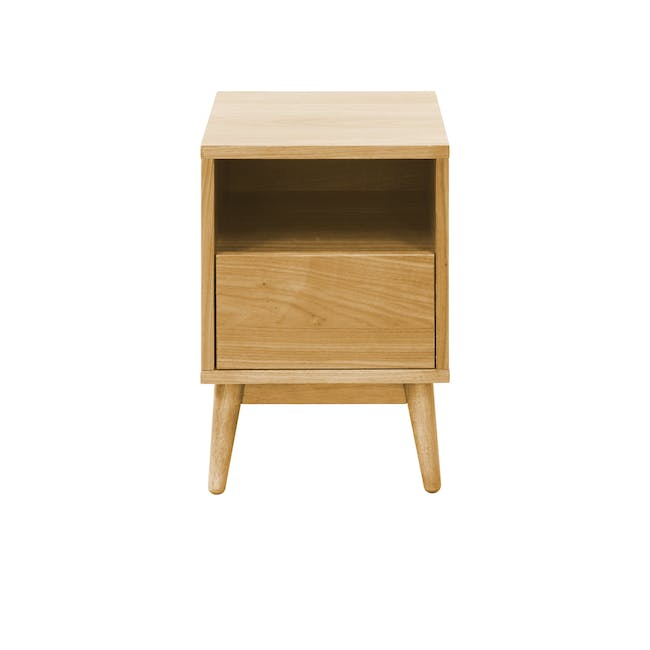 Landon Queen Bed with 2 Kyoto Bottom Drawer Bedside Table in Oak - 12